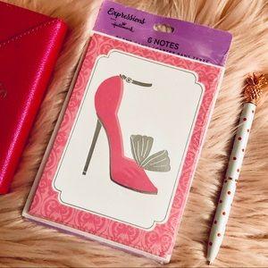 Hallmark pink high heel/ stiletto card set